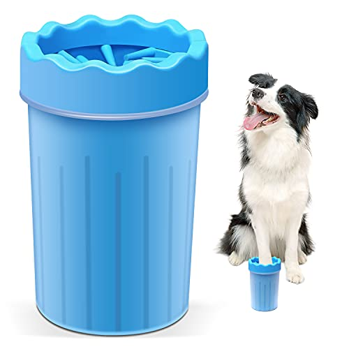 Dog Paw Cleaner,Dog Brush . Cat Brush. Dog Paw Washer .2 in 1Soft Silicone Dog Paw Washer Cup,Portable Pet Cleaning Brush Feet Cleaner Prevent Water Splashing , for Dog Cat Grooming with Muddy Paws