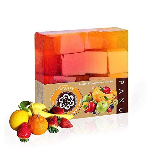 Panu Duschseife Vegan - Fruity Naturseife - Körperseife für jeden Hauttyp - Haarwaschseife Handgemacht - Seife für Körper, Haut und Haar (1x 110g)
