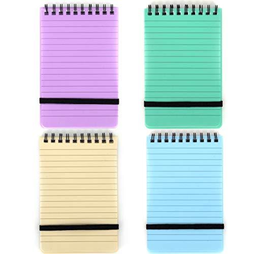 4 Stück Spirale Pocket Notebook mit Gummiband und Top-Spirale Allwetter-Notizblöcke, Tagebuch Tragbar, Assorted Color, 14 cm x 9 cm