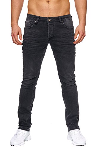 Elara Herren Jeans Slim Fit Hose Denim Stretch Chunkyrayan 16533-Schwarz-36W / 34L