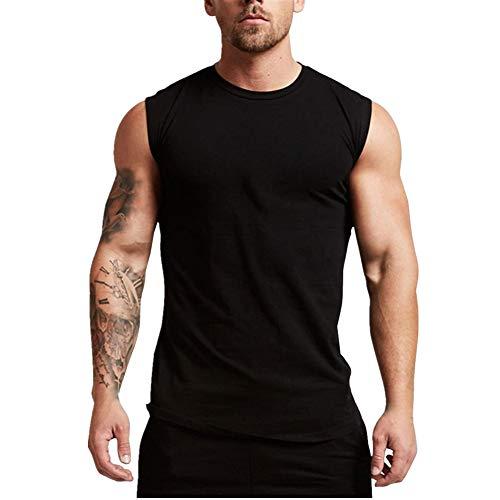 Fansu Camiseta de Tirantes para Hombres, Cómodo Transpirables Fitness Gym Muscular Absorbente Chaleco Bodybuilding Tank Top Sport Vest Culturismo (XXL,Negro)