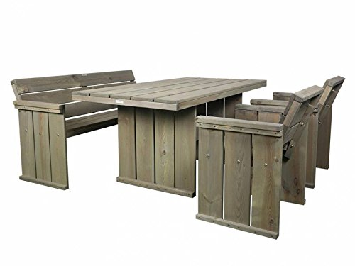 Gartenmöbel Set in Bauholz Optik , Gartentisch 160 x 85 cm + Gartenbank 150 cm + 2 Gartenstühle
