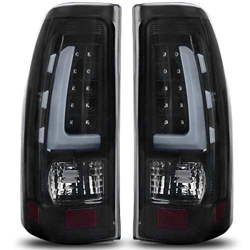 LED Taillights/Tail Lamp Compatible with 1999-2006 Chevy Silverado, 99-02 GMC Sierra 1500 2500 3500 / Pickup/Truck Black Smoke ATTL1020, Plug and Play Installation