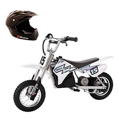 Razor MX400 Dirt Rocket Ride On 24V Electric Toy Motocross Motorcycle Dirt Bike, Speeds up to 14 MPH Includes a Helmet, White