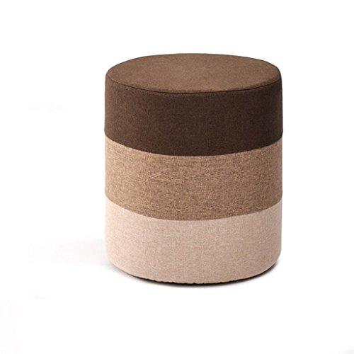 Leileixiao - Pouf ottomano per divano, vestirsi e cambiare scarpe, panchina imbottita per soggiorno, poggiapiedi, poltrona, pouf, tessuto di lino (marrone) (colore tondo)