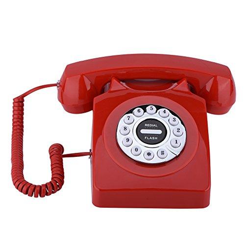 Vbestlife Elegante Teléfono Fijo Antiguo Vintage Retro con Cable Sonido Claro Almacenamiento de Números para Casa/Oficina/Restaurante/Hotel(Rojo)