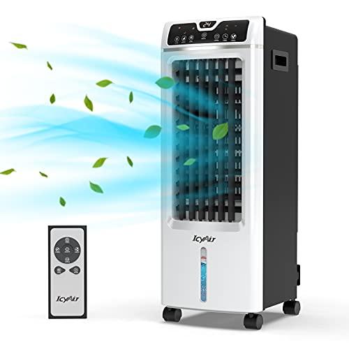 Mobiles Klimagerät, Verdunstungs-Luftkühler mit Eisbox, Luftbefeuchtung und Luftreinigung, 550m³/h, 7H-Timer und Fernbedienung, ultra-leiser Ventilator mit Wasserkühlung für das ganze Heim und Büro