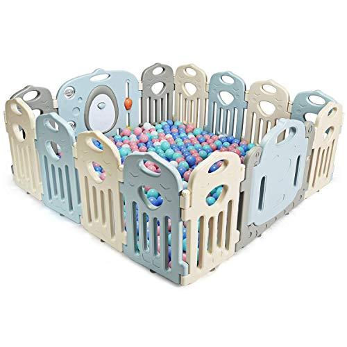 COSTWAY Parc Bébé Pliable 14 PanneauxBarrière de Sécurité en Plastique avec Porte et Jouets Barrière du Jeuxpour Enfant