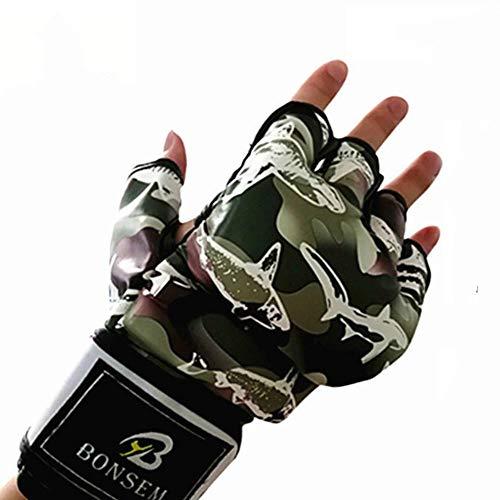 UKKO Guantes de Boxeo Camuflaje Suave PU Guantes De Boxeo MMA Diseño De Medio Dedo Guantes De Grappling Perforación De Formación De Bolsas para Adultos,220 * 100 * 30 mm
