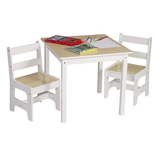 eSituro SCTS0005 Kindersitzgruppe 1 Kindertisch und 2 Kinderstühle Set, Kinderschreibtisch aus MDF Kindermöbel für Kinder Kindersitzgarnitur Holzoptik Naturfarbe