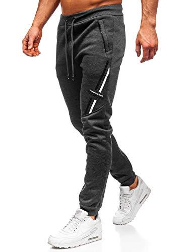 BOLF Herren Sporthose Trainingshose Jogginghose Fitnesshose Joggerhose Freizeithose Sport Style RED Fireball 80509 Dunkelgrau XXL [6F6]