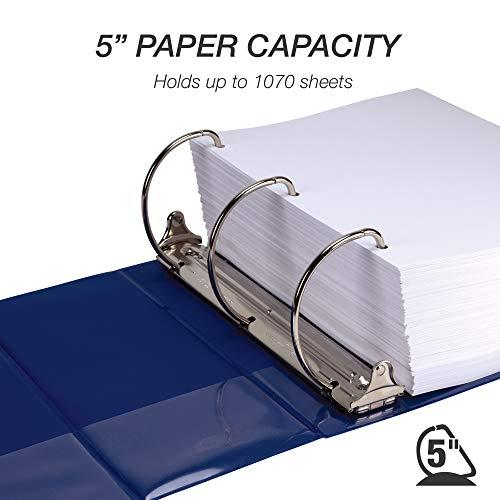 Samsill Durable 5 Inch Binder Blue D-Ring Binder/Customizable Clear View Binder/Bulk Binder 2 Pack/Blue 3 Ring Binder 5 inch Photo #3