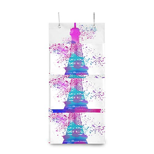 4 Grids Wall Hanging Storage bags,Eiffel Tower Watercolor Pastels Art Storage Bag Over The DoorBag with 2 Easy Access Durable Metal Hooks,Space Saver Bags SuiTable for Living Room, Bedroom, Etc