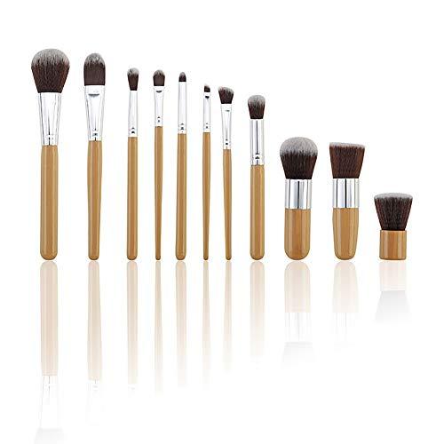 WZRYJS Lot de 11 pinceaux de maquillage professionnels en bambou avec manche en bambou synthétique de qualité supérieure