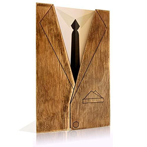 BENCARDI® Grußkarte- einzigartige Dankeskarte aus Holz - bestandene Prüfung Geschenk - Geburtstagskarte - Abschiedskarte Kollegen - ANZUG