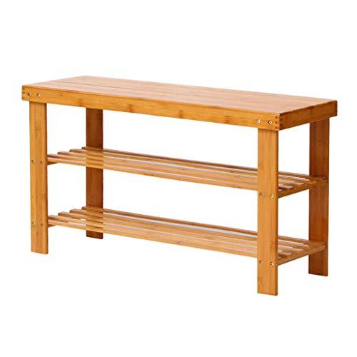 HEWEI Schoenrek 50CM brede opbergkast plank hout stofdicht Stabiel Natuurlijke Bamboe Frame (Maat: 50x27x45cm)