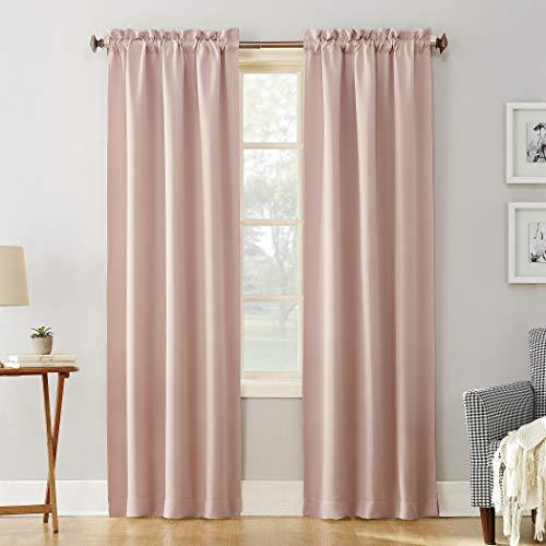 "Sun Zero 51744 Easton Blackout Energy Efficient Rod Pocket Curtain Panel, 40"" x 84"", Blush Pink"