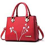 Leathario PU Handbag Tote Top-handle bag Embroid Hobo Crossbody Bag Shoulder Bag for Women(white)