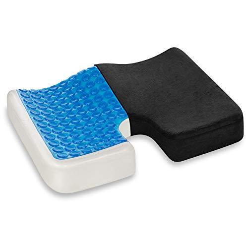 Vitabo - Cojín ortopédico para coxis, con capa de gel para aliviar la presión, alivia el dolor, ergonómico y extragrueso, espuma viscoelástica, Negro , 45 x 35 cm
