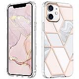 MATEPROX Mármol Funda para iPhone 12 Mini, Carcasa Protector de TPU+PC Duro Cubierta Trasera, Purpurina Brillante Delgado Fundas para iPhone 12 Mini 5.4'' 2020-Rosa marmol