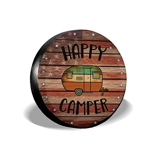 Deaowangluo Spare Wheel Tire Cover RV SUV Spare Tire Cover Camping Happy Camper Trailer Truck Travel Trailer Universal Fits 15 Inch