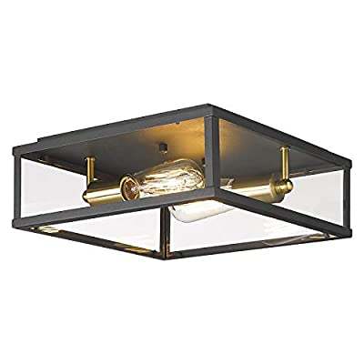 2-Light Flush Mount Light Fixture, AKEZON 12 inch Vintage Industrial Ceiling Light, Matte Black & Brushed Brass Finish, KC-8082