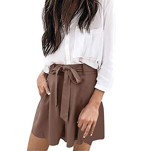 HNOSD Modische Shorts für Damen, lässig, kurz, locker, elastischer Taillenbund, Schleife, Shorts, Taschen, hoher Taillengurt, kurz Gr. S, Als Picb