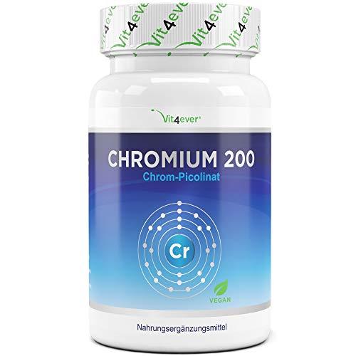 Chromium Picolinate - 200 mg reines Chrom je Tablette - 365 Tabletten im Jahresvorrat - Laborgeprüft (Wirkstoffgehalt & Reinheit) - Ohne unerwünschte Zusätze - Hochdosiert - Vegan