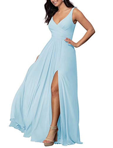Sleeveless Light Blue Bridesmaid Dresses for Women Formal Dresses Plus Size Chiffon Wedding Party Dres(Light Blue,10)