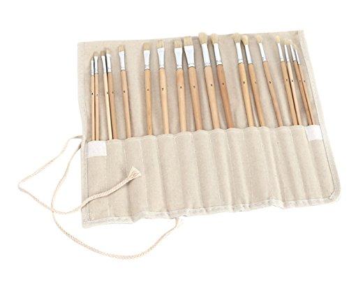 Exerz CF-03 Set di pennelli d'artista– set complete di 18 pennelli di qualità superiore – Lunga impugnatura – per colori ad olio, acrilico, body painting - con custodia in tela arrotolabile