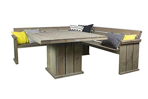 Gartenmöbel Set in Bauholz Optik, Eckbank 210 cm + Gartentisch 118 x 118 cm