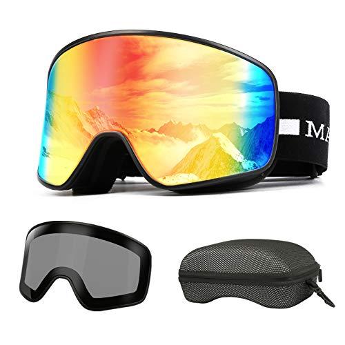MADEYES Gafas de esquí, Magnético Intercambiables 2 Lentes, Anti-Niebla Anti-Reflej, Gafas Esqui Snowboard, Hombre Mujer Juventud (Rojo)
