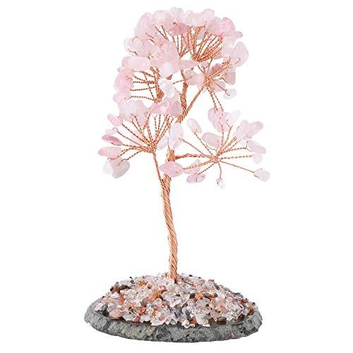 BESPORTBLE Árbol de Dinero de Cristal Árbol de La Suerte Feng Shui Adorno de Escritorio Riqueza China Regalo de Fortuna para El Regalo de Cumpleaños de Año Nuevo (Rosa)