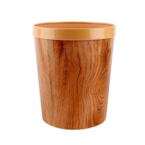 NJIUHB Pressure Ring Trash Can, Coverless Plastic Ronde druk Ring Waste Basket, for de woonkamer Slaapkamer Keuken vuilnisbak, Tri-color, 12L (Color : Woodcolor)