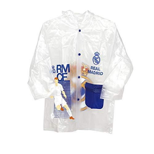 Real Madrid Fußball Club Wasserdichte Kinder Regenjacke Real Madrid Transparent mit Kapuze, Transparent  3-4 Años