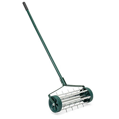 Best Choice Products 18in Rolling Lawn Aerator Gardening Tool for Grass, Soil w/Tine Spikes, 50in Handle - Dark Green