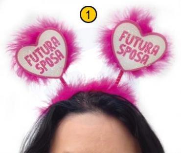 CERCHIETTO cuori FUTURA SPOSA ADDIO AL NUBILATO Gadget idea regalo scherzo per matrimonio