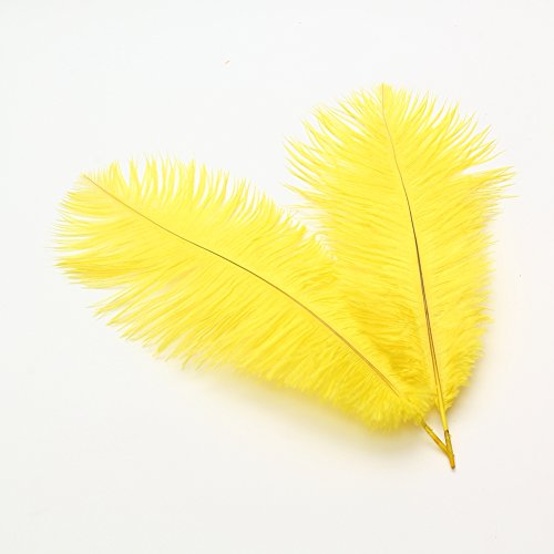 Sowder 8-10inch(20-25cm) Ostrich Feathers Plume Wedding Centerpieces Home Decoration Pack of 10pcs(Yellow)