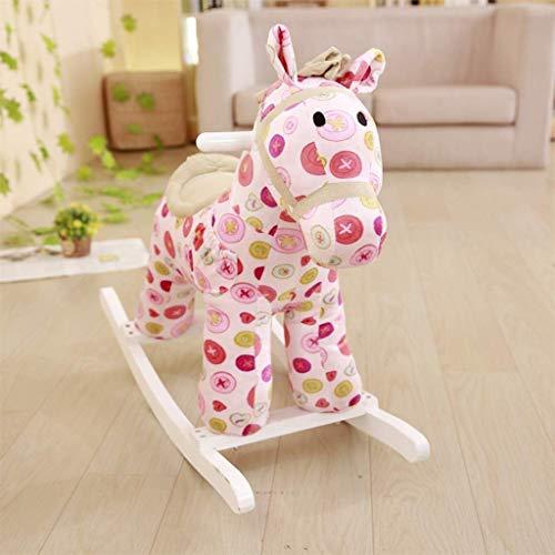 Sofa Children's Rocking Horse Trojan Doek baby Rocking Chair Toy Met Horseshoe Bark Gift Lostgaming (Kleur: Roze) (Color : Pink)