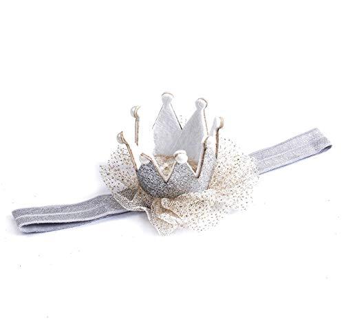 EROSPA® Kopfband Haarband für Babys Kleinkinder - Krone Prinzessin - Mädchen - Silber