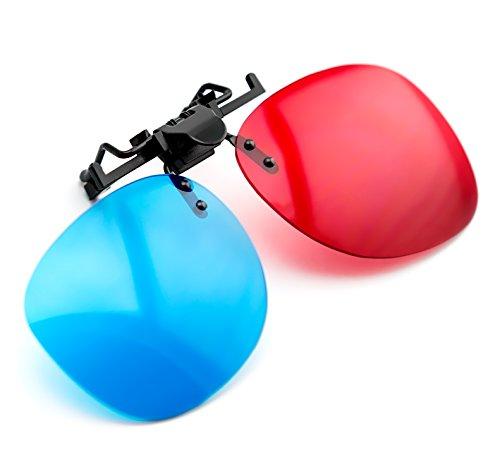Occhiali 3D posizionabili su tutti i tipi di occhiali colore rosso/blu Occhiali 3D di alta qualita` per portatori di occhiali ideali per giochi 3D al computer, 3D videoschermi, 3D Film(come ad esempio 3D Sky), 3D proiettori, 3D video articolo Marchio PRECORN