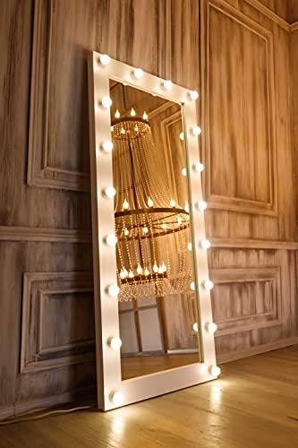 Espejo Pared con Luz LED Cuerpo Entero 80X180, Espejo con Luz, Espejo de Pared, Espejo de pie, Espejo Maquillaje con Luz, Espejos Grande de Pared, Espejo con Luces para Mujer Espejo Grande LED