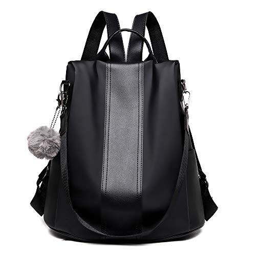 Mochila Antirrobo Mujer De Nylon Bolsos Juveniles Escolares Portatil Impermeable Daypack Mini Mochilas Casual Bolsa De Viaje,Negro