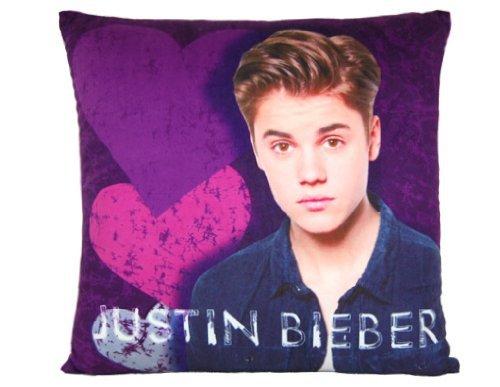 Justin Bieber - Cojín de terciopelo con diseño de corazón