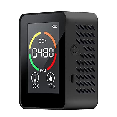 Decdeal 3-in-1 CO2 Messgerät Kohlendioxid Detektor mit Umgebungstemperatur und Luftfeuchtigkeit, 400~5000 ppm, USB Wiederaufladbar