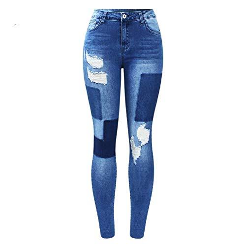 NCAYKL Nuevos Parches Falsos elásticos Pantalones Vaqueros Mujer Pantalones de Mezclilla Rasgados Azules Pantalones para Mujeres Lápiz Vaqueros Pitillo