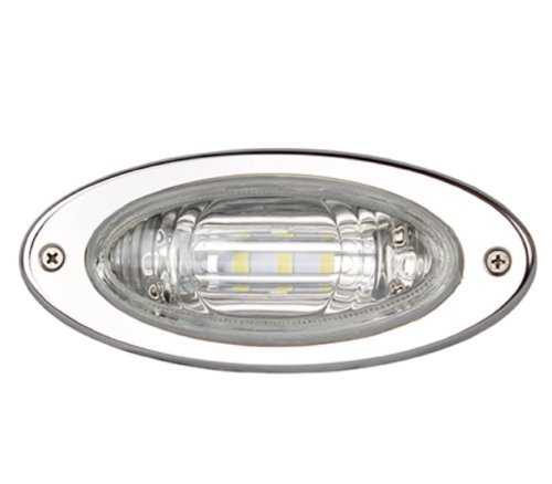 Marine Boat Flush Mount Oval LED Docking Light Stainless Steel Bezel Watertight