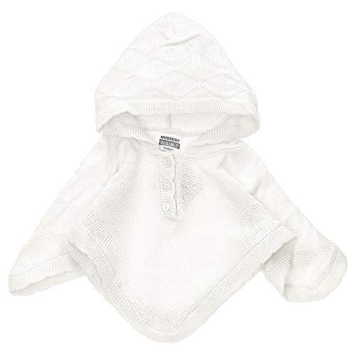 Nursery Time Baby Mädchen Poncho | Farbe: weiß | Baby Strick Poncho mit Kapuze für Neugeborene & Kleinkinder | Größe: 0-3 Monate (62)