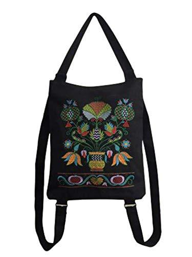 Damen Handtasche   Shopping bag   Schultertasche  Umhängetasche, aus 100% Leinen (Canvas) mit modernen und eleganten Motiven bestickt (Schwarz, Stickerei mehrfarbig)