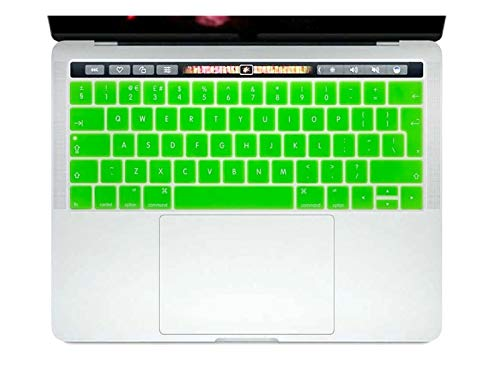 Durable keyboard stickers English EU Silicone Keyboard Cover Skin Protector For Mac NewPro 13' A1706 A2159 Pro 15' A1707 With Touch Bar 2017/2018/2019 Keyboard accessories (Color : Green)